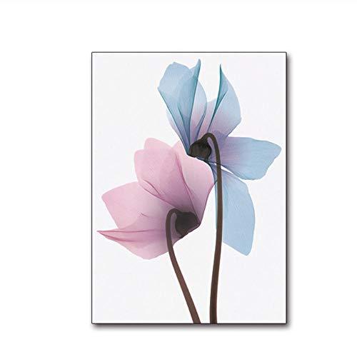 Kaxiou Modern minimalistisch bloemenposter en print pop-art schilderij bloemenwandschilderij in Scandinavische stijl voor slaapkamer keuken muurkunst decor-50X70cm zonder lijst