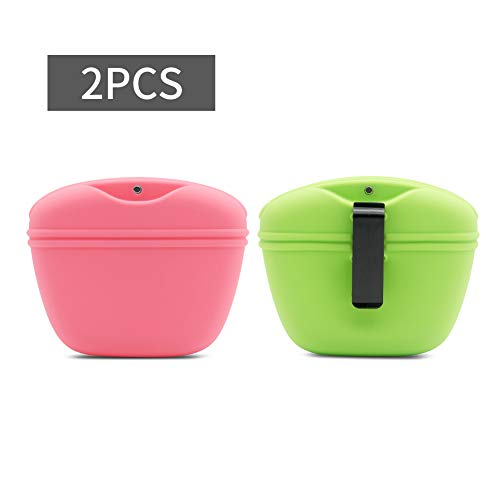 SENDR.KR Hundeleckerlibeutel aus Silikon für Hundetraining, Futterbeutel Hunde Tragbare Leckerli-Tasche mit magnetischem Verschluss und Taillen-Clip (grün Rosa)