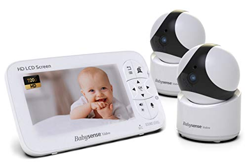 "5"" HD Baby Monitor, Babysense Video Baby Monitor with Camera and Audio, Two HD Cameras with Remote PTZ, 960ft Range, Two-Way Audio, Zoom, Night Vision, Secure Hack-Free and Portable"