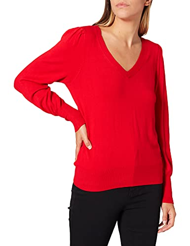 Morgan Pull COL V Manches Fantaisies 212-MOTEUR Over, Rouge, M Femme