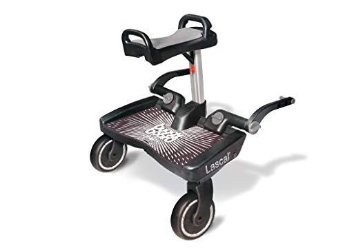 Lascal BuggyBoard Maxi+ Plataforma con sillín infantil y base grande, accesorio para niños de 2 a 6 años (22 kg), compatible con muchas sillitas de paseo, gris/negro