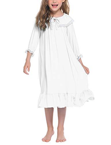 trudge Mädchen Nachthemd Kinder Schlafanzug Kleider Langarm Nachtwäsche Spitze Prinzessin Nightdress Nachtkleider,130,Weiß