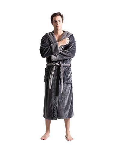 Turkuoise Men's Warm Fleece Robe with Hood, Big and Tall Comfy Bathrobe