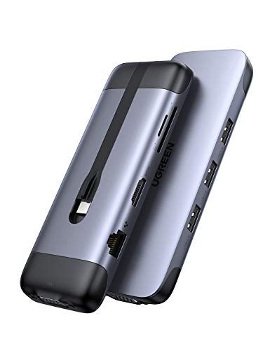 UGREEN HUB USB C para MacBook, 9 En 1USB C Hub Adaptador a HDMI 4K, Gigabit Ethernet, VGA 1080P, 100W Power Delivery, Lector Tarjeta SD TF, 3 Puertos USB 3.0 Compatible con Macbook Pro, Macbook Air 2020 2019 2018, DELL XPS 13 15, Samsung, Huawei