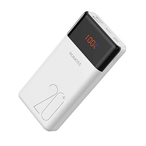 Romoss Bateria Externa Carga Rápida 20000mAh 18W Power Bank USB C PD QC3.0 Cargador Portátil con 3 Salidas LCD Display Batería Portátil Móvil para Teléfonos,Tablets y más Dispositivos