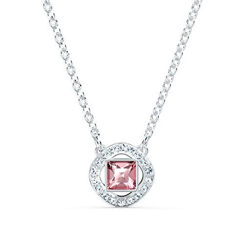 Swarovski Angelic Square Halskette, Weißes und Rhodiniertes Schmuckstück mit Funkelnden Rosa und Weißen Swarovski Kristallen