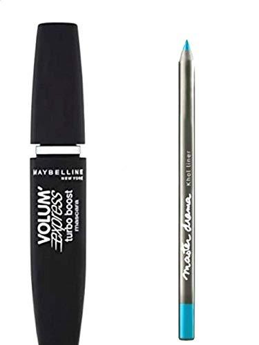 Kit/Set Mascara Gemey Maybeline Turbo Volum' Express Noir + Crayon Master Drama Khol Eye-Liner Tenue 16h Bleu Lagon (2 Produits)