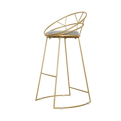 Comif-tabouret de bar Metall-Barhocker Cafe Gold High Stool, rundes Baumwollkissen, stabile Beinstruktur, mit Fußpedal und Rutschfester Matte (Sitzhöhe: 65cm)