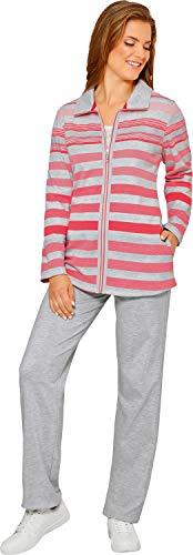Hajo Klima Komfort Damen-Freizeitanzug Interlock-Jersey grau meliert/lachs Größe 36/38