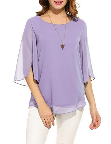 ACEVOG Womens Casual Scoop Neck Loose Top 3/4 Sleeve Chiffon Blouse Shirt Tops (XL, Purple)