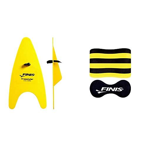 Finis Freestyler Hand Paddles - Palas para Entrenamiento De Natación + Foam Pull Buoy Adult Flotador De Espuma para Natación, Unisex, Amarillo, Talla Única