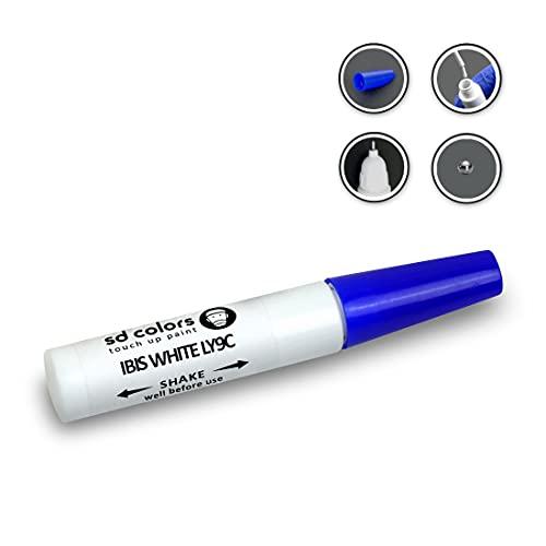 SD COLORS IBIS WHITE LY9C Nuovo kit di riparazione penna per ritocchi 12 ml pennello per graffi colore LY9C IBIS bianco (solo vernice)