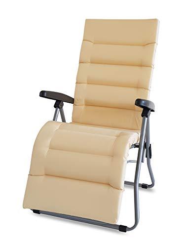 TECNOWEB Matelas de rechange pour chaise longue avec repose-pieds 6 cm. Couleur écru