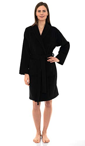 TowelSelections Women's Robe, Turkish Cotton Short Terry Bathrobe Medium Moonless Night