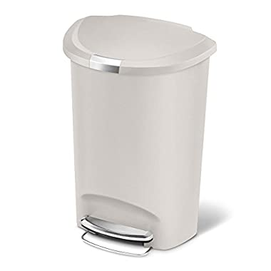 simplehuman 50 Liter/13 Gallon Semi-Round Kitchen Step Trash Can, Stone Plastic With Secure Slide Lock