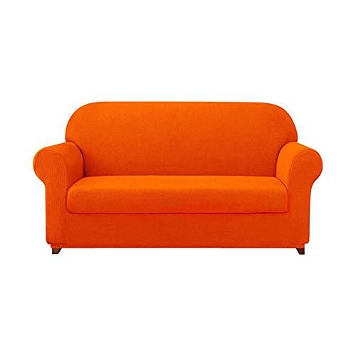 Jonist Funda elástica para sofá, 2 Piezas, Protector de Muebles para sofá, Abrigo Suave con Fondo elástico, Tela de Jacquard de Spandex a Cuadros para decoración de Sala de Estar, Naranja, Tres pla