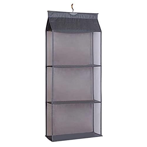 ZSDFW Estante de almacenamiento para bolsa montado en la pared a prueba de polvo Multi-capa bolsa almacenamiento rack ahorro de espacio organizadores para sala de estar, armario, gris