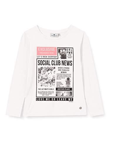 TOM TAILOR Mädchen Langarmshirt T-Shirt, Cloud Dancer|White, 164