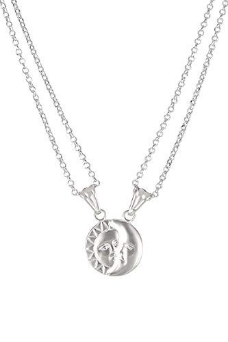 Córdoba Jewels | Gargantilla en Plata de Ley 925 con diseño Sol y Luna Divisible Silver