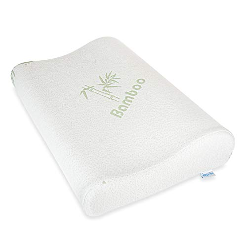 Napvibes Memory Foam Pillow - Orthopedic Pillow - Pillows for Sleeping - Side Sleeper Pillows for Neck and Shoulder Pain - Bonus Bamboo Pillow Case Included (White)