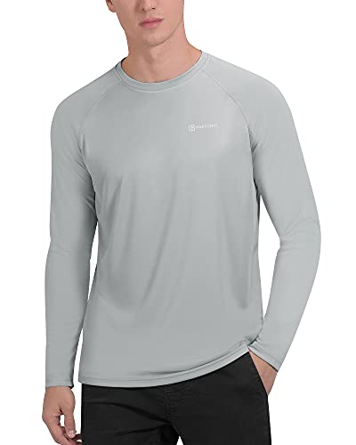 PRETCHIC Men's UPF 50+ UV Sun Protection Long Sleeve Outdoor T Shirt Grey XXL