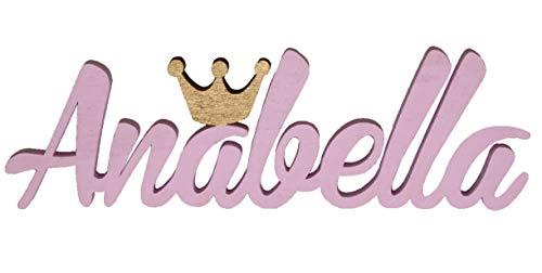 aim Namensschild mit Goldener Krone Annabella, Taufe, Personalisierung,MIA Studio