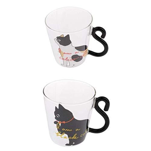 2 tazas de café expreso de vidrio transparente de doble pared de gato elegante 250 ml
