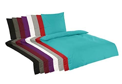 BaSaTex Renforce Bettwäsche Set Uni   100% Baumwolle   Reißverschluss   2 teilig   135x200 cm + 80x80 cm   Farbe Petrol