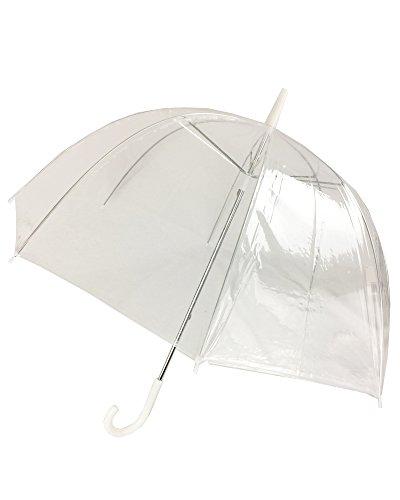 (6 Pack) 46 Adult Clear Bubble Rain Umbrella Manual Open Fashion Dome Shaped European Hook Handle