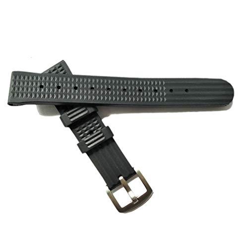 Hima 20 mm Uhrenarmband Silikon Quick Release Soft Rubber Ersatz Schwarz Uhrenarmband für Männer und Frauen Gummi Waffelband Geeignet für Seiko TIMEX MIDO CASIO Citizen Watch