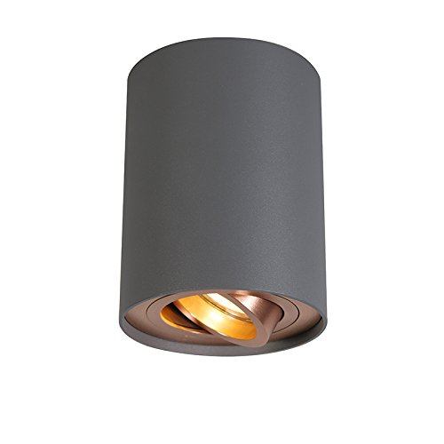 QAZQA Design/Modern Spot/Spotlight/Deckenspot/Deckenstrahler/Strahler/Lampe/Leuchte grau mit Kupferwirbel und Neigung - Rondoo Up/Innenbeleuchtung/Wohnzimmerlampe/Schlafzimmer/Küc
