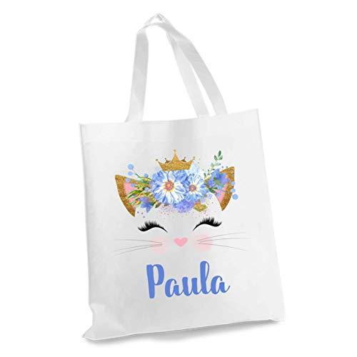 wolga-kreativ Stofftasche Einkaufstasche Blume Katze mit Name Stoffbeutel Kindertasche Sportbeutel Schuhbeutel Wäschebeutel Stoffsäckchen Jutebeutel Schultertasche Mädchen Junge