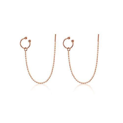 Generic Brands Pendientes de plata de ley 925 con forma de letra C, para mujer, de moda, fiesta, cadena larga, borla de joyería fina, accesorios de joyería rosa_oro