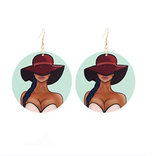 Timesuper Vintage runde afrikanische Frauen Ohrringe Holz gemalte Ohrringe personalisierte ethnische Stil Ohrring