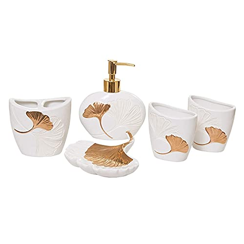 LBYJ Juego de Accesorios de baño Juego de Accesorios de baño de cerámica Moderna - Juego de Seis Piezas de Productos de baño domésticos creativos Juego de encimera de baño (Color: Rosa)