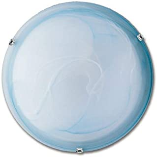 E-Led Ceiling Light Made in Italy E27 max 57W Compatible LED in Alabaster Glass and Metal Colour 300MM Azure