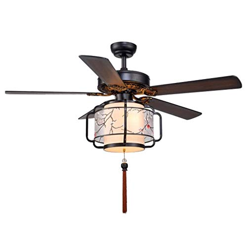 Luz silenciosa del ventilador de techo Ventilador de techo chino Luz de hoja de madera Ventilador de linterna Araña Sala de estar Restaurante Casa de té Restaurante Ventilador Luz con lámpara Ventilad