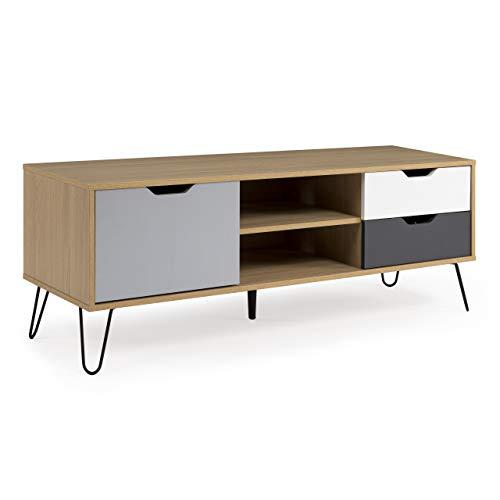 Homely - Mueble de TV de diseño nórdico Kiruna MDF en Roble, Blanco y Gris y Metal 130x40 cm