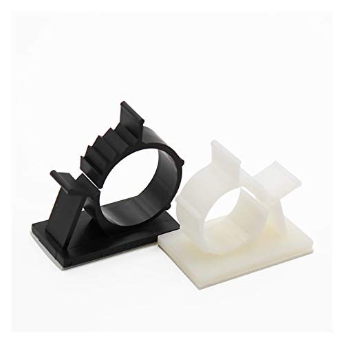 RAITL 10 unids Blanco Negro Clips Autoadhesivo Clips de Escritorio Alambre de Escritorio Organizador de la Abrazadera del Cable de plástico de plástico 10mm / 16mm / 25mm (Color : 25mm White)