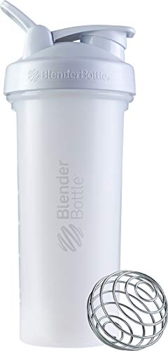 BlenderBottle Classic V2 Shaker Bottle Perfect for Protein Shakes and Pre Workout, 28-Ounce, White