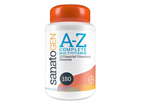Sanatogen A-Z Complete Multivitamin Tablets with 23 Essential Vitamins and Minerals for Men & Women Including Vitamin D, Vitamin C and Antioxidants 180 Tablets 6 Months Supply.