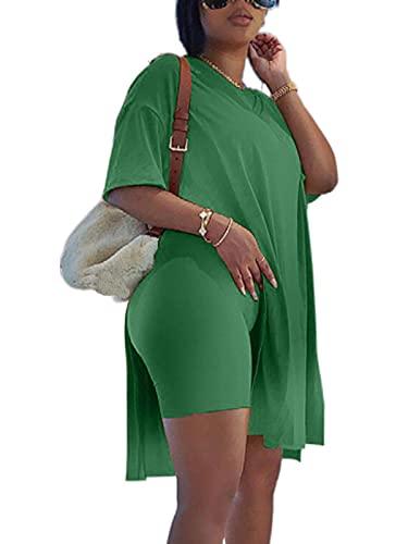 LoungeSetsforWomen Fashion 2Pcs Set V Neck Side Slit Stretch Shirt Elastic Waist Slim Shorts Jogger Set Green L