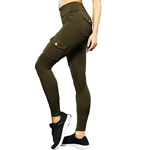 Baovery Eco-Friendly Bamboo Pockets Stretchy Soft Yoga Leggings Pants Army Green