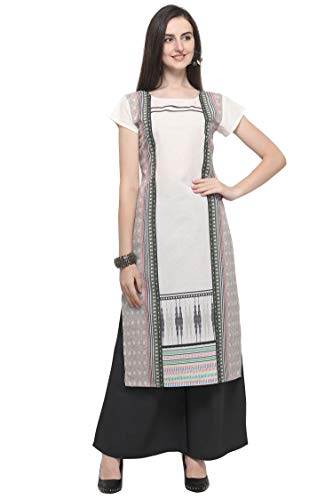 PURVAJA Women's Beige Colour Short Sleeve Crepe Straight Kurta(Beige-kotti-Eiffel) … (XXX-Large, Beige)