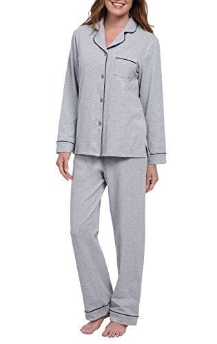 PajamaGram Womens PJs Cotton Jersey - Soft Pajamas for Women, Grey, M, 8-10