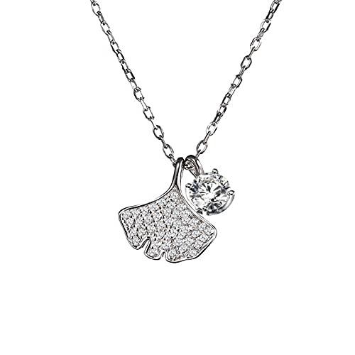 YNING Collar Femenino/Colgante de Collar de Hoja de Ginkgo/Plata de Ley S925 / Diseño Hueco con Incrustaciones de Diamantes/Longitud de Cadena Ajustable