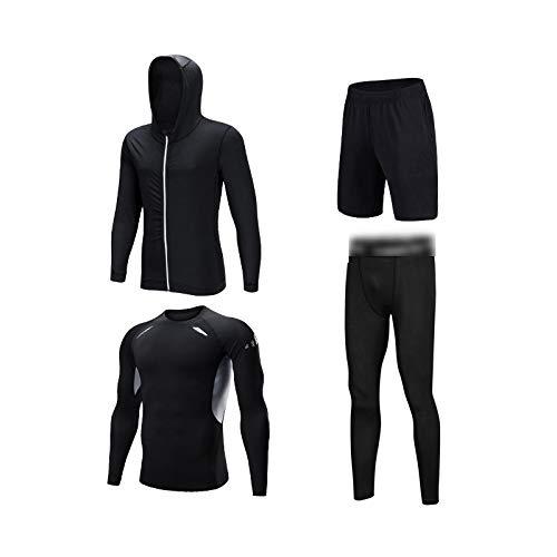 VOLORE Camiseta de Compresión Deportiva Sweatsuit Conjunto de 4 Piezas para Hombre Ropa Deportiva de Manga Larga de Transpirable y Secado Rápido Correr Gym Entrenamiento Ciclismo