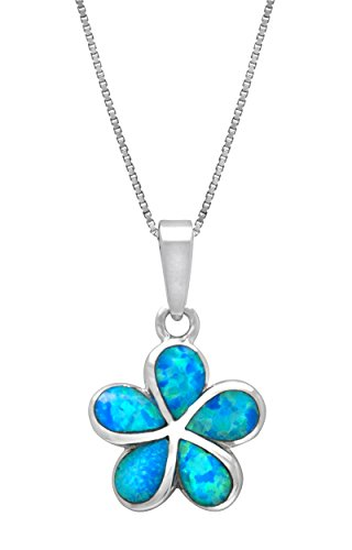 Honolulu Jewelry Company Sterling Silver Plumeria Flower Necklace Pendant with Simulated Blue Opal (19mm)