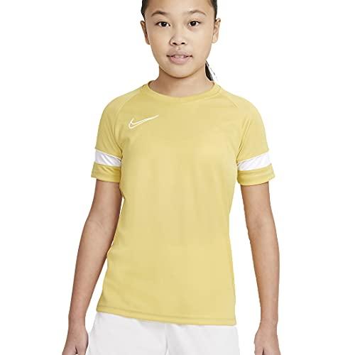 Nike Y Nk Dry Acd21 Top SS Maglia a Maniche Corte, Saturn Oro/Bianco/Bianco, 8-10 Anni Unisex-Bambini