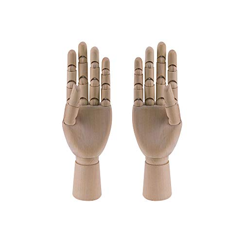 HSOMiD Flexible Wooden Hand Model Moveable Wooden Artists 12 Inches Hand Model for Sketching Drawing Painting Home Office Desk Decoration12 Inch Left and Right Hand 1 Set 12Inch Hands